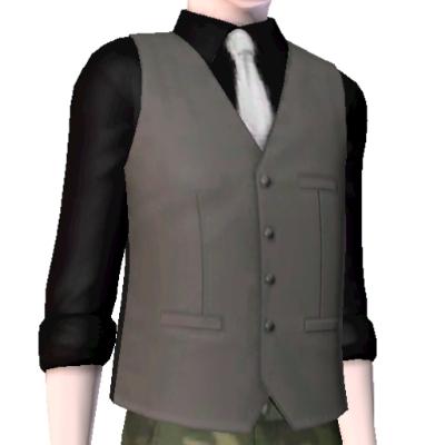 Black coat black shirt white tie