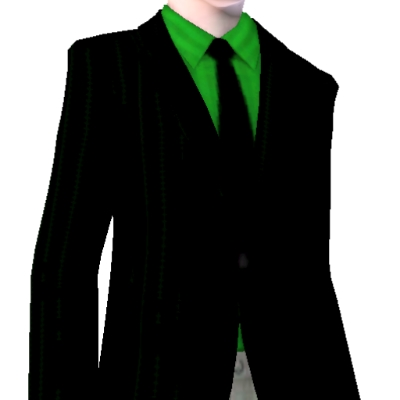 Black Suit Jacket With Apple Green Shirt And Black Tie By