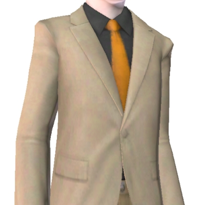 brown suit with black shirt and orange tie by mhga the