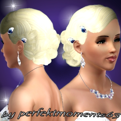 Wedding Hair with blue diamant flowers by perfektmoments63 - The