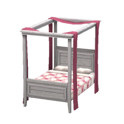 Pretty Floral Pink And White Four Poster Bed By Seagull